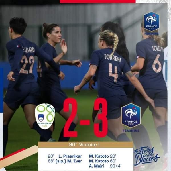 Foot féminin-Qualifications mondial Grèce/France 0/10 et Slovénie-France , le 21 septembre 2021