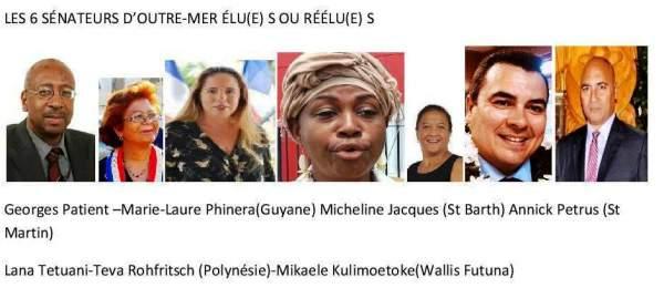 Les 6 sénateurs et sénatrices élu(e)s ou réélu(e)s en Outre-mer.