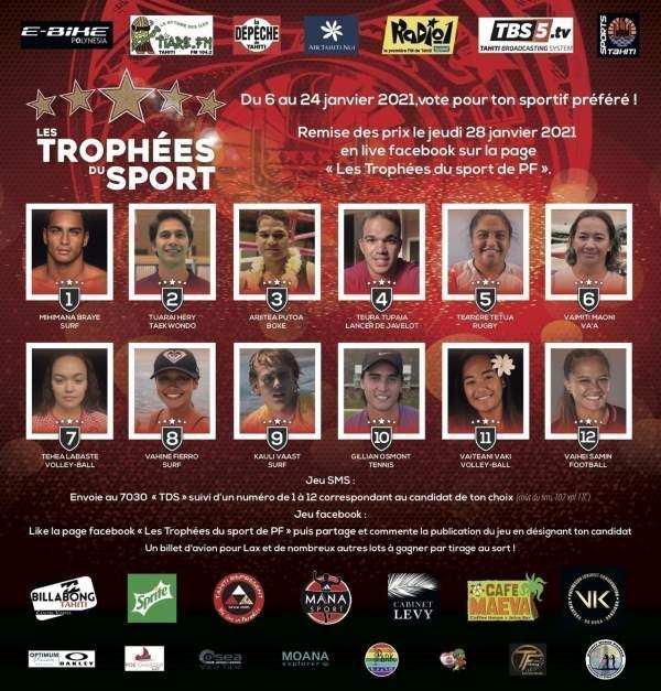 Les trophées du sport de Polynésie: votez sur Facebook du 6 au 24 janvier 2021
