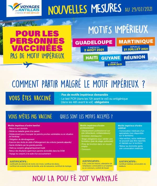 Voyages Antillais vous informe: nouvelles mesures pour les Antilles, la Guyane, Haïti et la Réunion.