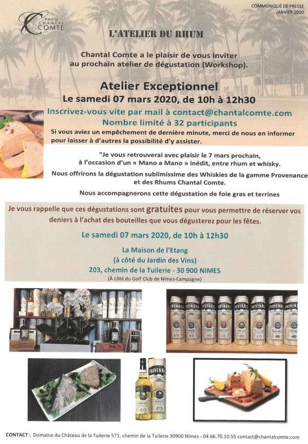 Workshop Atelier Chantal Comte:Rhums et whisky-Nimes-7 mars 2020