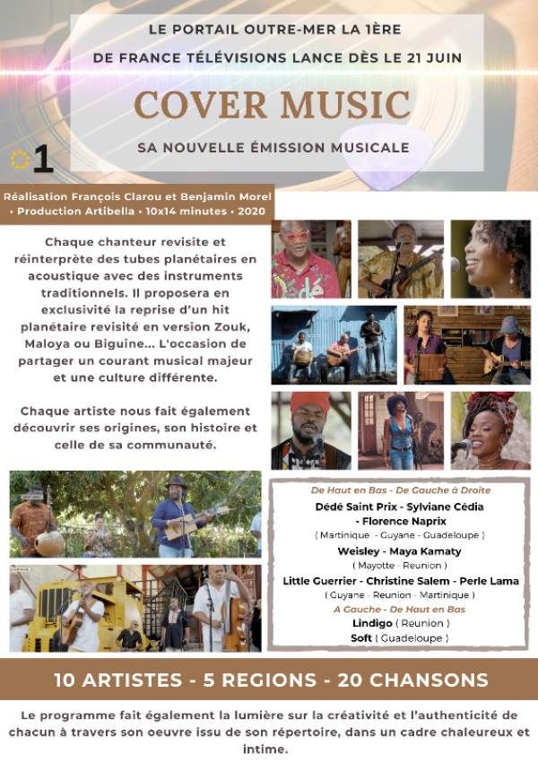 COVER MUSIC nouvelle émission musicale du portail Outre-mer la 1ère de France Télévisions , dès le 21 juin 2021