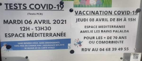COVID 19:Amélie-les-bains dépiste et vaccine sa population. Prochaines dates: test: mardi 6 avril   2021 (12h à 13h30).Vaccination: jeudi 8 avril 8 à 15 heure